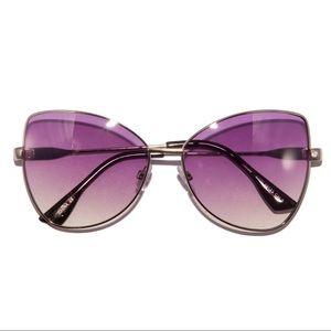Accessories - Retro 70s Purple Ombré Metal Frame Sunglasses
